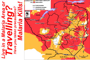 Zimbabwe Malaria Map :: If you are travelling or live in a malaria area be sure to take precautions to minimize the risks